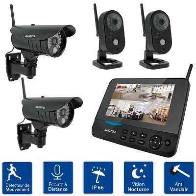 kit de surveillance 4 cam ras sans fil cran enregistreur. Black Bedroom Furniture Sets. Home Design Ideas